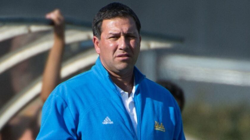 UCLA Men's Soccer coach, Jorge Salcedo during a game versus San Diego State University, Drake Stadiu