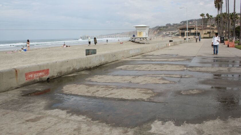 A faulty drainage system at the northern Shores comfort station floods the boardwalk daily.