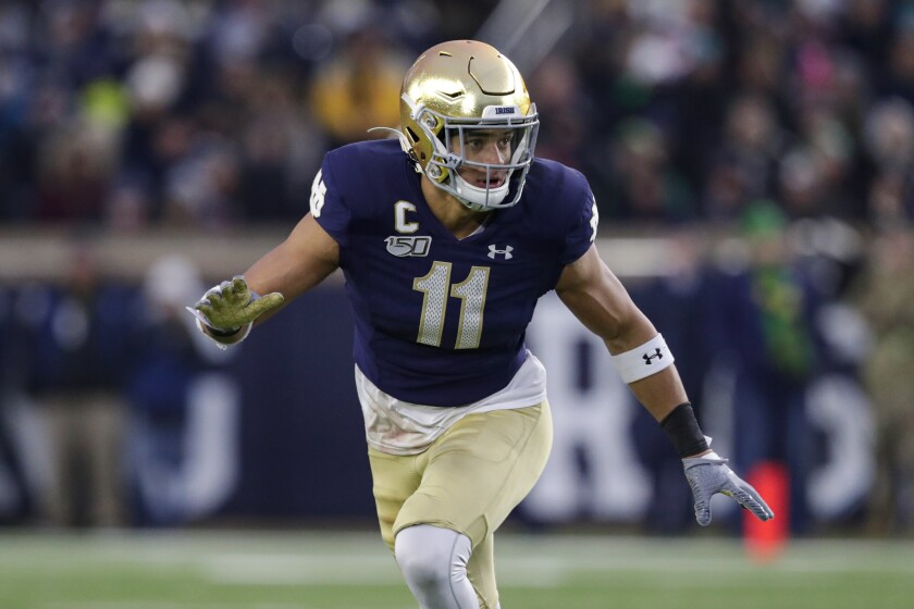 Notre Dame safety Alohi Gilman runs on the field.