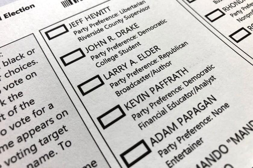 Portion of the California Gubernatorial Recall Election ballot.