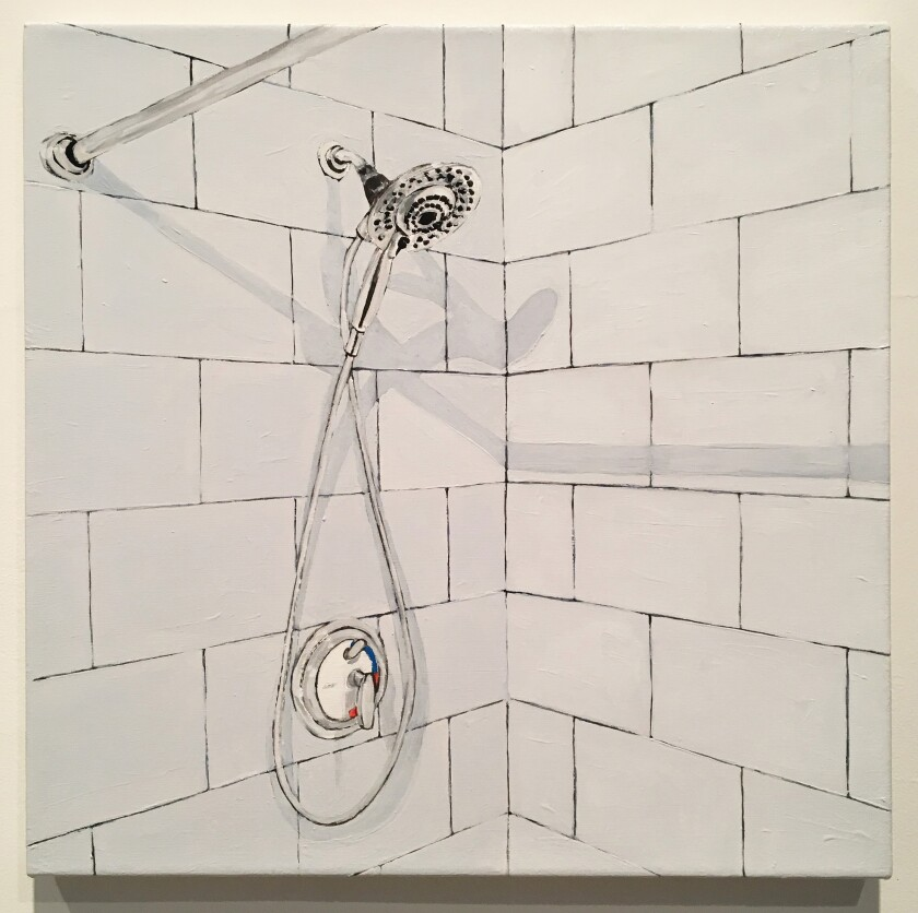 """Shower"" by Robert Levine, 2019.  Oil on canvas, 18 inches by 18 inches."