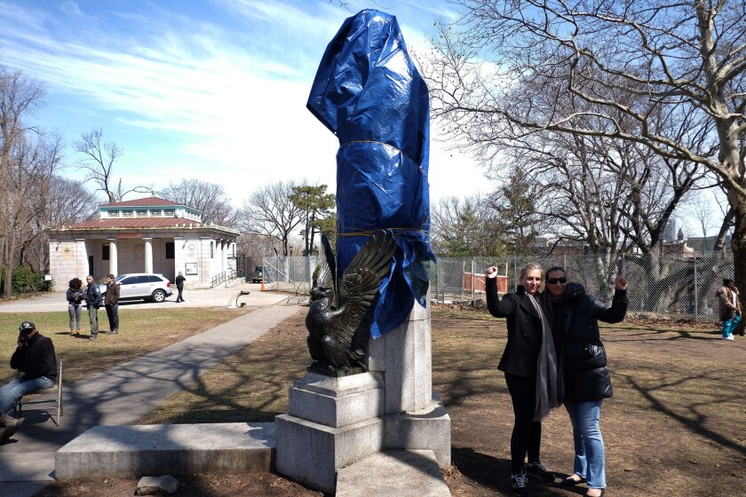 A statue of former National Security Agency contractor Edward Snowden is shown covered up at the Fort Greene Park in Brooklyn.