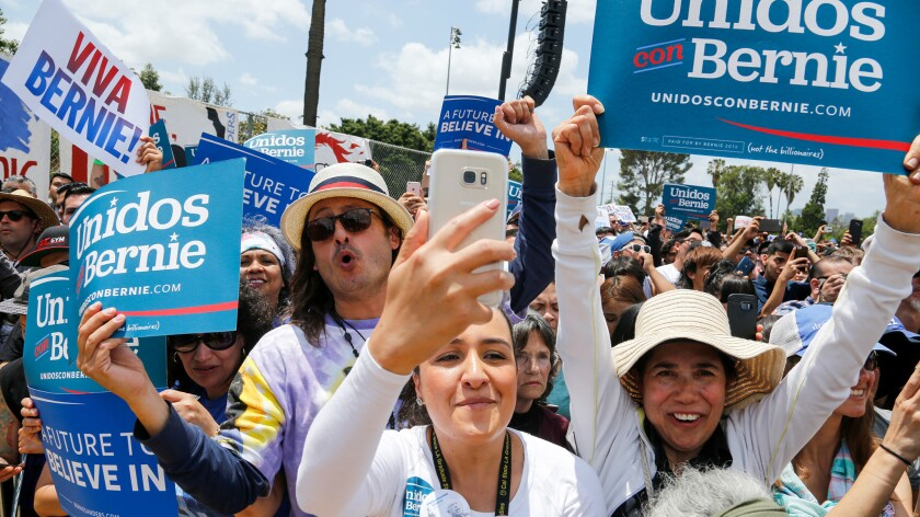 Supporters cheer for Bernie Sanders during a campaign rally in Los Angeles on May 23.