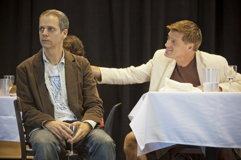 """Patrick Breen as Miles and Sean Allan Krill as Jack in La Jolla Playhouse's """"Sideways."""" The play, based on UCSD grad Rex Pickett's novel, follows two middle-aged buddies on a road trip into wine country."""