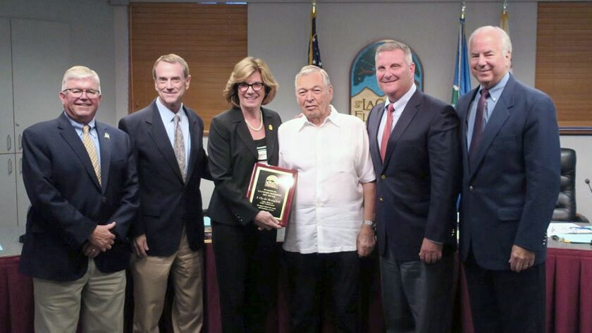 Members of the La Canada Flintridge City Council recognize outgoing Public Works and Traffic Commiss