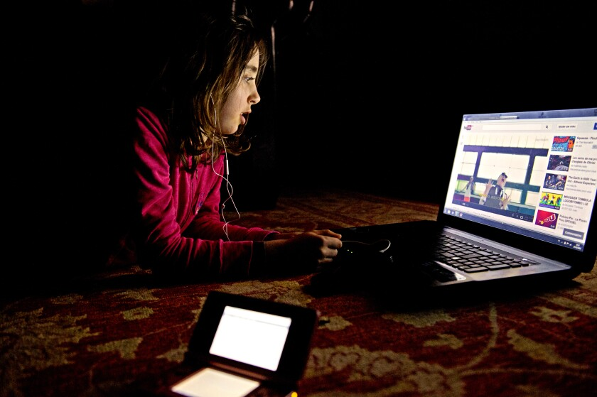 A child watches a YouTube video
