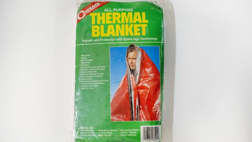 Coghlan's all purpose Thermal Blanket. (Calvin B. Alagot / Los Angeles Times).