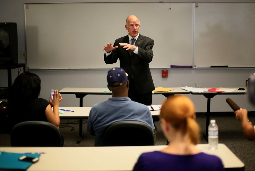 Gov. Jerry Brown visits with students Monday at San Diego City College.