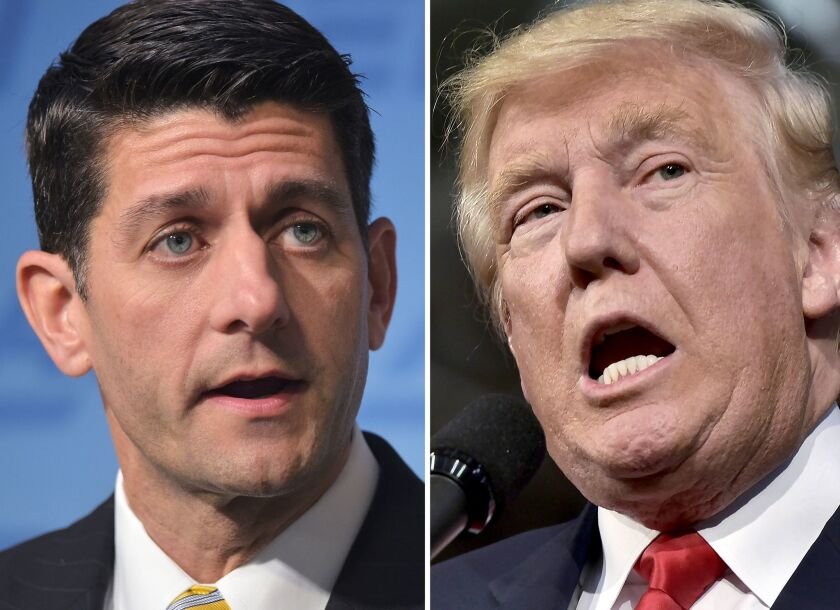 House Speaker Paul D. Ryan (R-Wis.), left, refuses to campaign for Donald Trump and is concentrating on protecting the GOP's majority in the House.