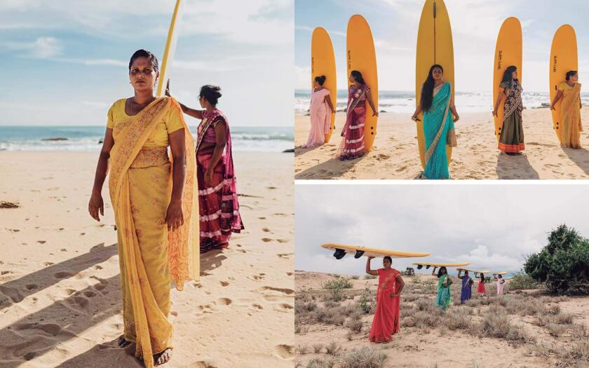 """Members of the Arugam Bay Girls Surf Club in Sri Lanka pose for photos as part of the book """"Surf Like A Girl."""""""