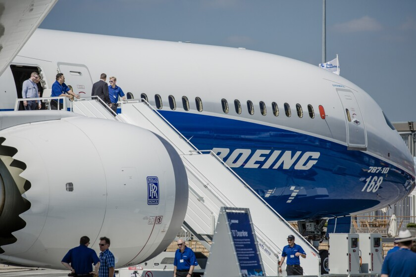 A Boeing Co. 787 Max 10 aircraft stands on the tarmac ahead of the 53rd International Paris Air Show at Le Bourget, in Paris on June 18, 2017. Aerospace giant Boeing has agreed to sell 20 Dreamliner commercial jets to Vietnamese start-up airline Bamboo Airlines in a deal worth up to $5.6 billion