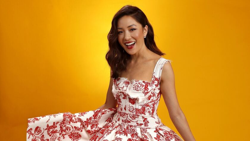 """BEVERLY HILLS, CA-AUGUST 5, 2018: Constance Wu, actress in the film, """"Crazy Rich Asians,"""" is photog"""
