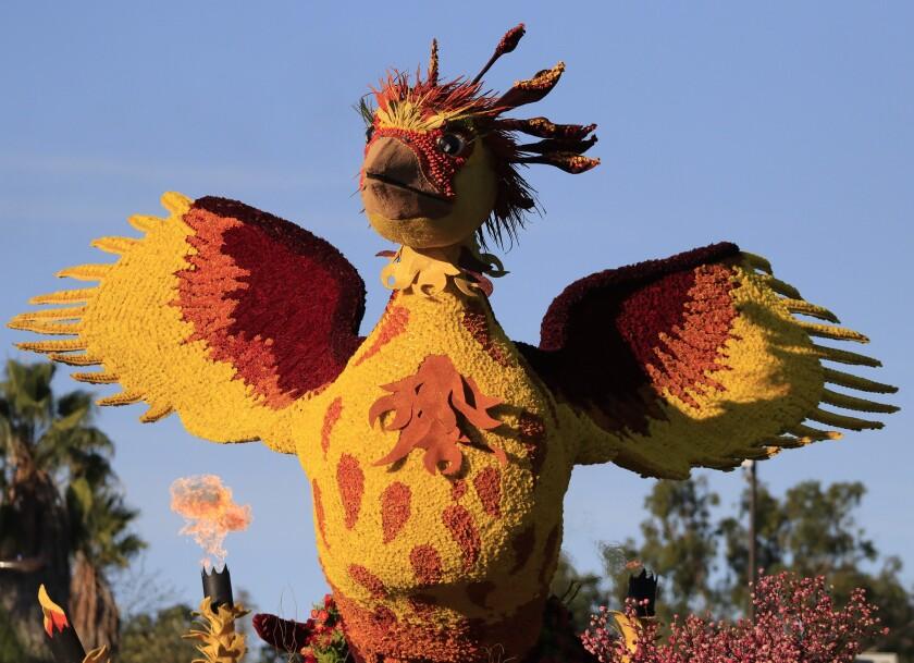 The city of Burbank's Rose Parade float, a phoenix