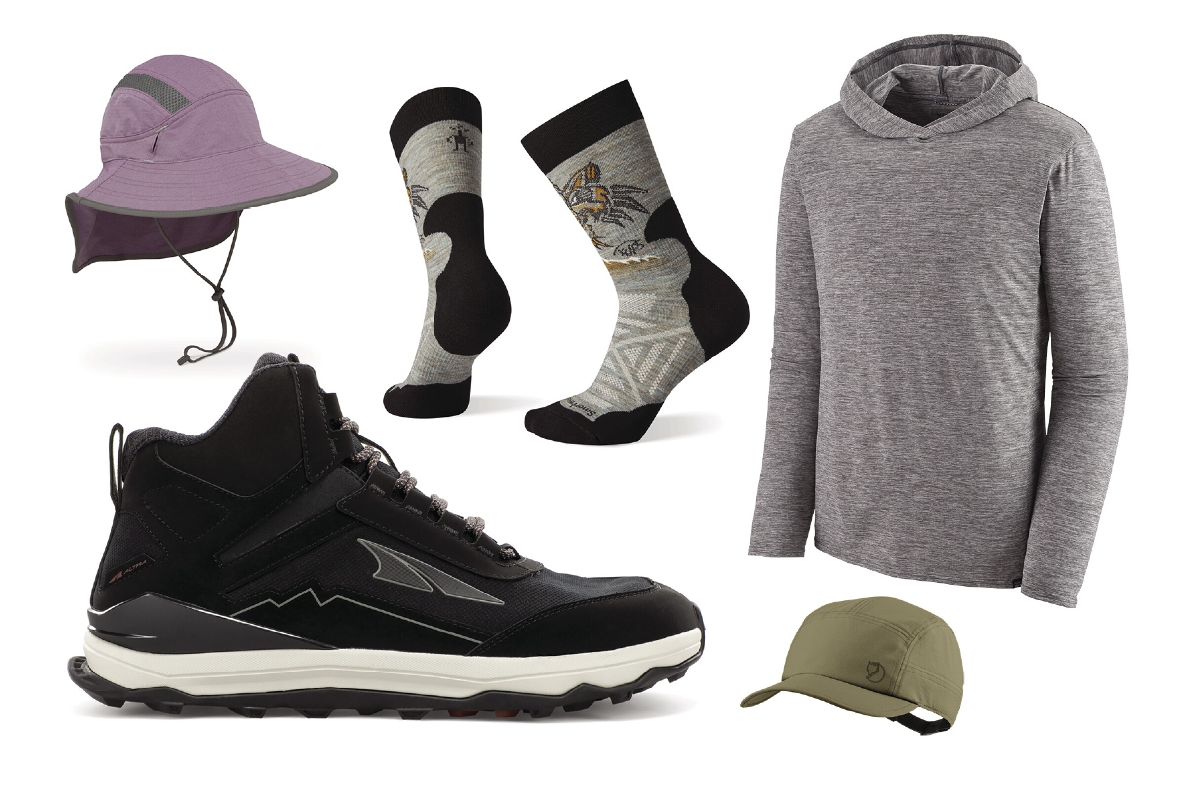 A photo collage of hiking apparel