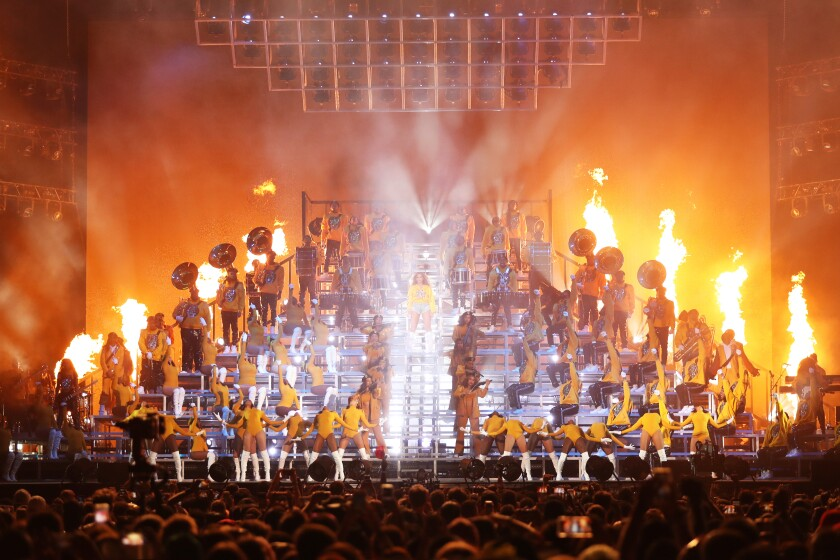 Beyoncé performs on a pyramid structure at Coachella 2018