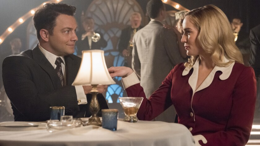 """Jonathan Sadowski and Caity Lotz in """"DC's Legends of Tomorrow"""" on the CW."""