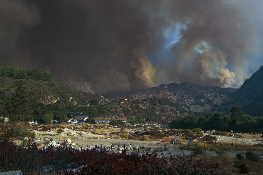 The Bobcat fire rages above Rincon Fire Station on Highway 39 in the San Gabriel Mountains.