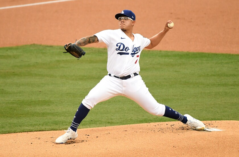 Julio Uris of the Dodgers gave up one run and three hits in six innings on Saturday night.