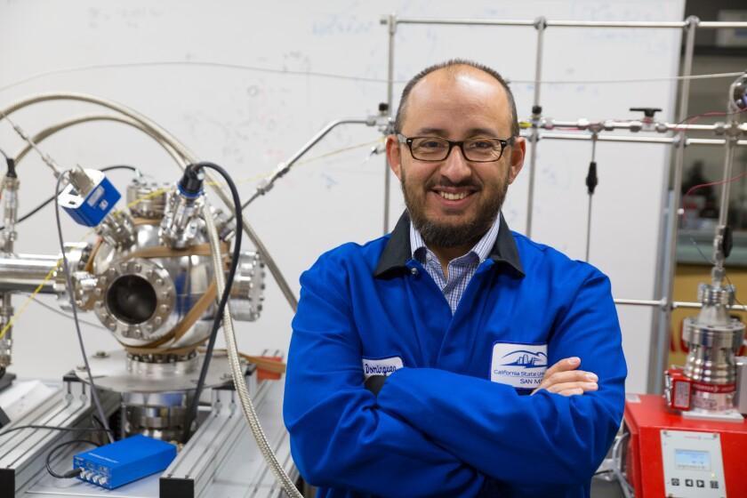 Gerardo Dominguez, 42, inside his physics lab at Cal State San Marcos.