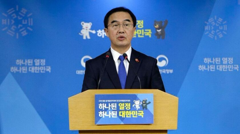 South Korean Unification Minster Cho Myoung-gyon on Tuesday offered high-level talks with rival North Korea meant to find ways to cooperate on the Winter Olympics.