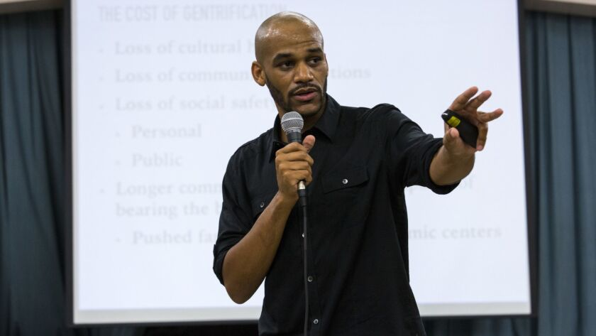 LOS ANGELES,CA --THURSDAY, AUGUST 03, 2017--Damien Goodmon, with Crenshaw Subway Coalition, speaks t