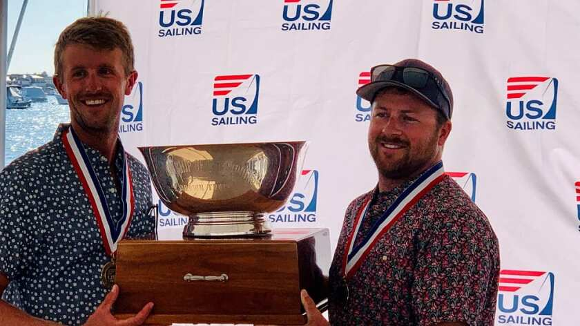 Alex Curtiss, left, and Jake La Dow won the US Sailing Championship of Champions in Newport Harbor on Sunday.