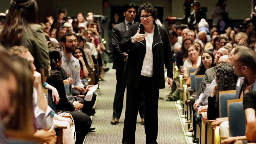 U.S. Supreme Court Justice Sonia Sotomayor, center, answers questions from the audience during a speech at UC Berkeley.