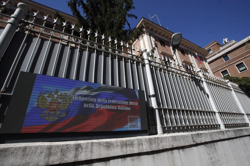 A view of the Russian Embassy in Rome, Wednesday, March 31, 2021. Italy has ordered two Russian Embassy officials expelled and arrested an Italian Navy captain on spying charges after police caught the Italian allegedly giving classified documents to one of the Russians in exchange for money. (AP Photo/Alessandra Tarantino)