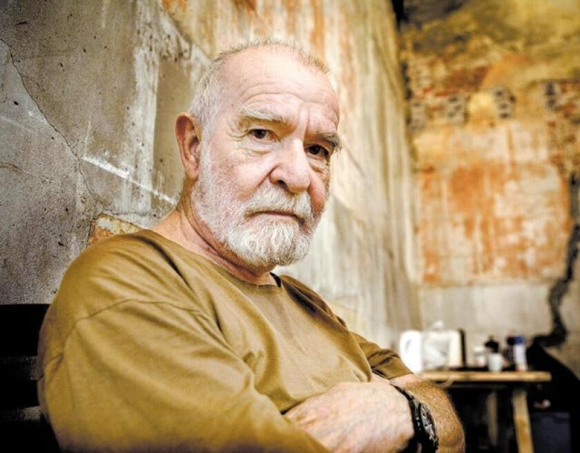 """Athol Fugard attends a rehearsal of his play """"The Train Driver,"""" which premiered at a Cape Town theater named in his honor."""