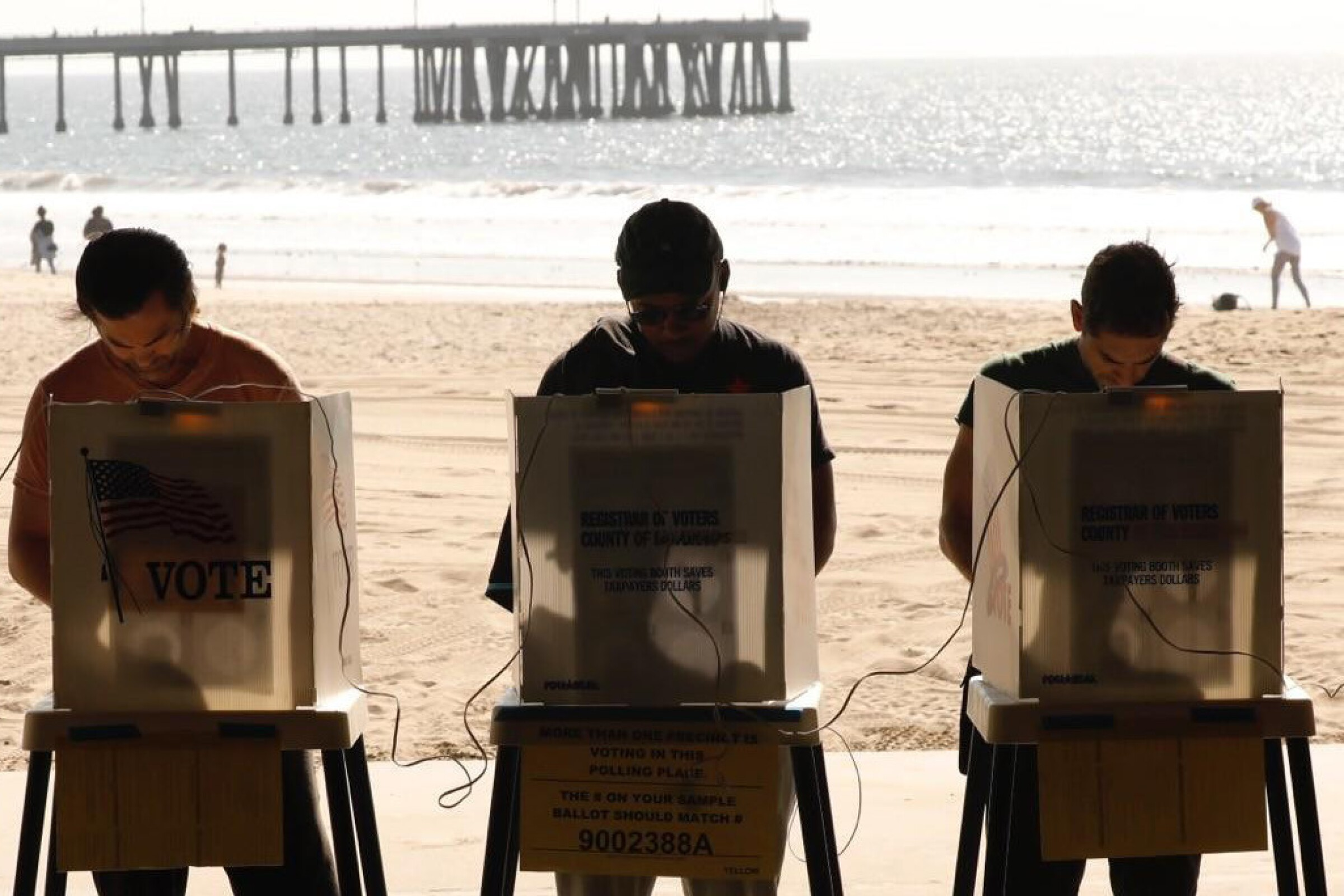 People vote on the beach