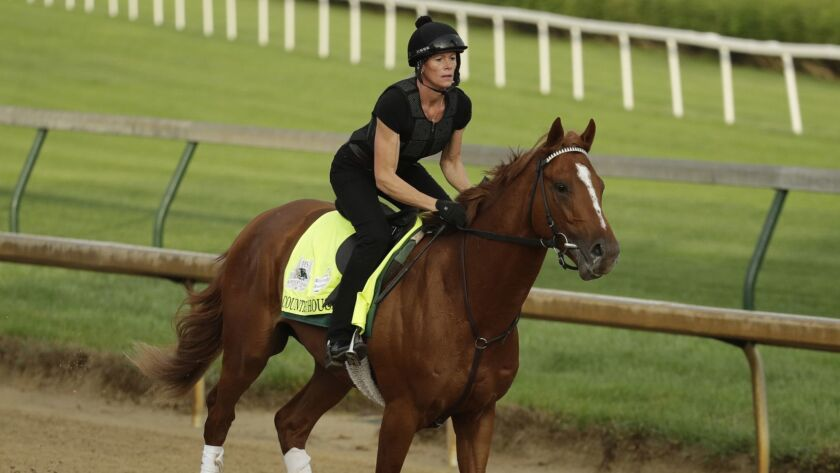 Kentucky Derby entrant Country House runs during a workout at Churchill Downs Thursday, May 2, 2019,