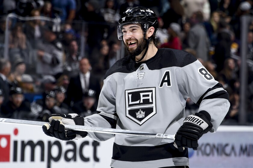 Kings defenseman Drew Doughty smiles during a game against the Vegas Golden Knights in April.