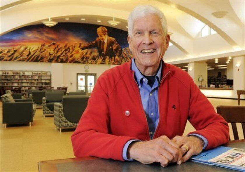 Paul Schrade poses in the Paul Schrade Library at Robert F. Kennedy Community Schools, Friday, May 20, 2011, which is built on the former site of the Ambassador Hotel where Kennedy was assassinated in Los Angeles. Schrade was struck in the head in the shooting. (AP Photo/Mark J. Terrill)
