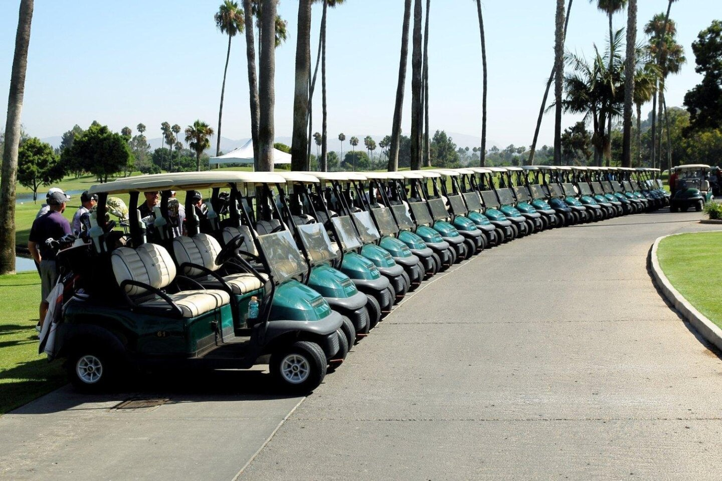 "Carts lined up at Fairbanks Golf Club for ""Operation: Game On"""
