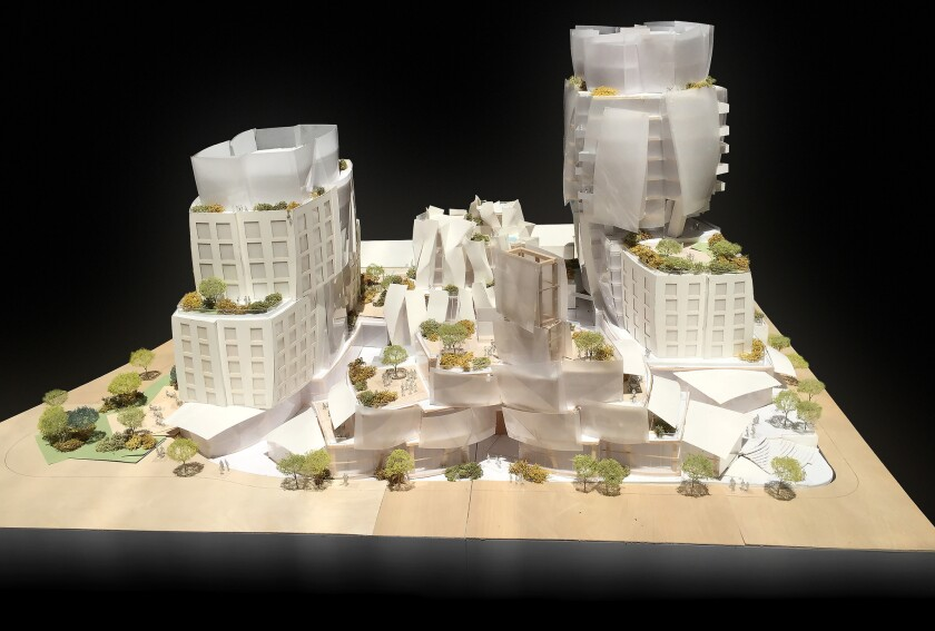 The Los Angeles City Council voted 13-0 Tuesday to approve a mixed-use development designed by Frank Gehry at Sunset and Crescent Heights boulevards. Above, a model rendering of the project.