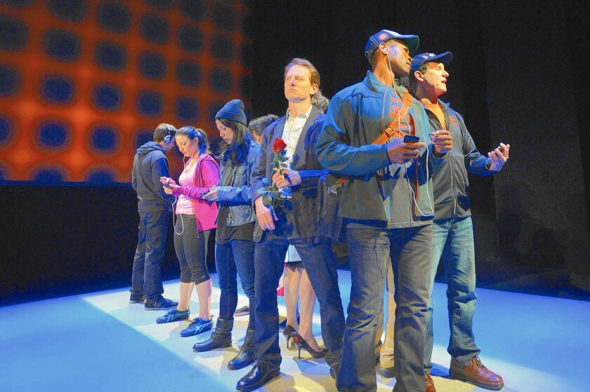 """The cast of Caryl Churchill's play """"Love and Information"""" at A.C.T.'s Strand Theater in San Francisco."""
