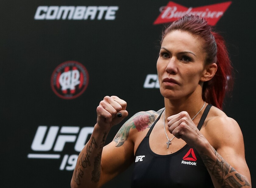 """Cris """"Cyborg"""" Justino weighs in for UFC 198 on May 13 in Curitiba, Brazil."""