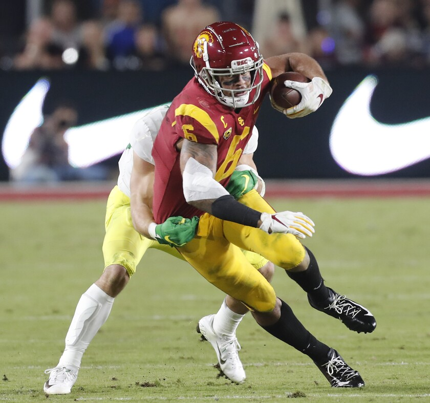 USC wide receiver Michael Pittman Jr. makes a reception against Oregon at the Coliseum on Nov. 2.