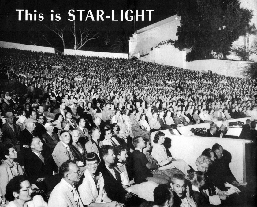 Playgoers pack Starlight Bowl in Balboa Park for a 1958 production by the San Diego Civic Light Opera. Ticket-buyers and revenue have been harder to come by in recent years; now the 65-year-old company (better-known as Starlight Musical Theatre) has filed for Chapter 11 bankruptcy.