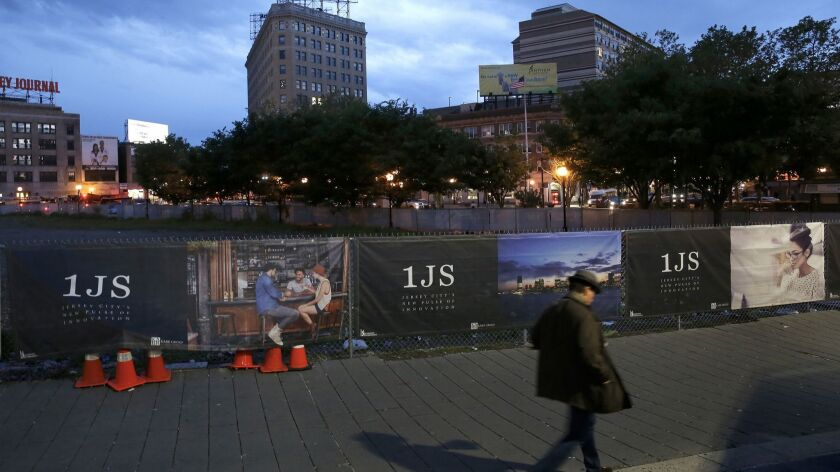 The site of the One Journal Square luxury apartment project in Jersey City, N.J.