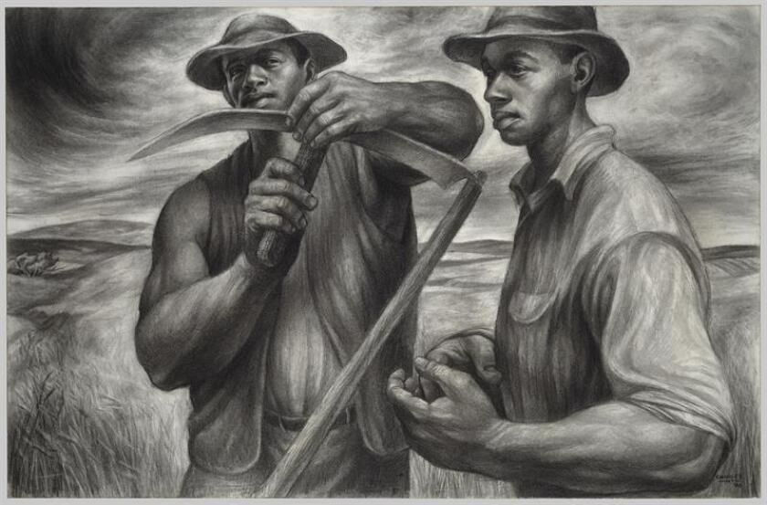 """Fotografía cedida por el Museo de Arte Moderno de Nueva York (MoMA) donde se muestra la obra """"Harvest Talk"""" (1953) del artista estadounidense Charles White, que forma parte una exposición que recoge más de un centenar de sus dibujos, pinturas y grabados del próximo 7 de octubre al 13 de enero. EFE/The Art Institute of Chicago/Charles White Archives/MoMA/SOLO USO EDITORIAL"""