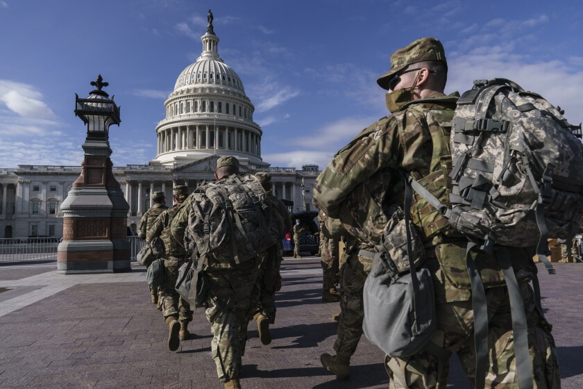 National Guard troops reinforce security around the U.S. Capitol ahead of President-elect Joe Biden's inauguration.