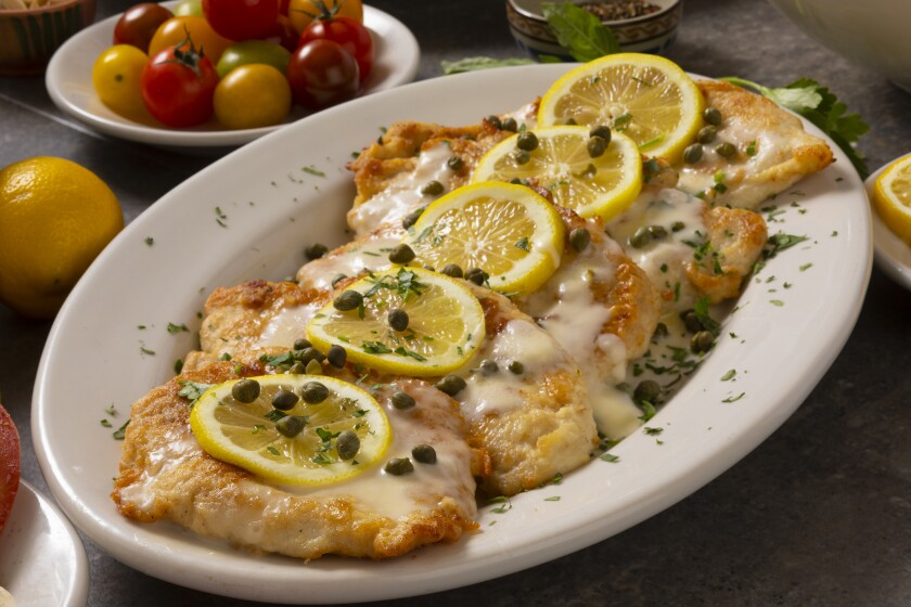 Buca di Beppo's Chicken Limone, which is one of the entree options offered in the Mother's Day package ($14/person).