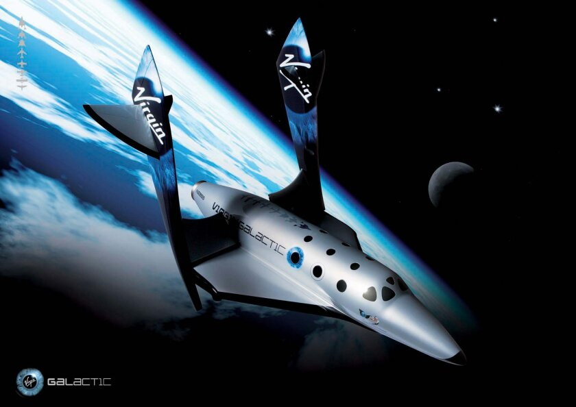 This undated image provided by Virgin Galactic shows Virgin Galactic's first SpaceShipTwo, an air-launched suborbital spaceplane type designed for space tourism. It is manufactured by The Spaceship Company, a California-based company owned by Virgin Galactic. Space tourism companies are employing d