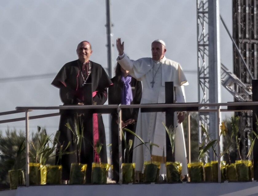 Pope Francis during a brief stop near the international border with the United States of America to greet the faithful from across the border, in Ciudad Juarez.