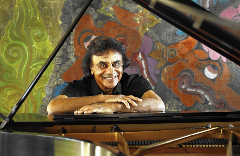 Johnny Mathis at his Hollywood Hills home on March 17, 2015.