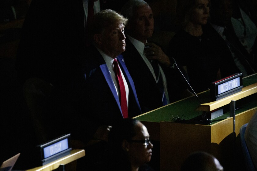 President Donald Trump listens during the United Nations Climate Action Summit during the General Assembly, Monday, Sept. 23, 2019, in New York. (AP Photo/Evan Vucci)