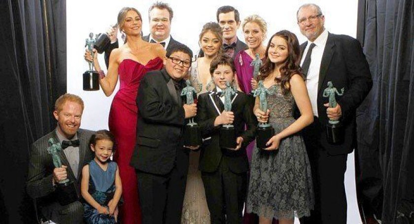 """SAG Award winners: The cast of ABC's """"Modern Family"""" at the 18th Annual Screen Actors Guild Awards show at the Shrine Auditorium."""