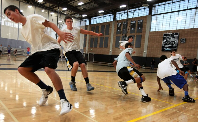 Players engage in endurance running drills during a San Diego All-Stars Club basketball practice at Miramar College.