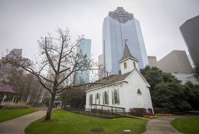 This Wednesday, Jan. 16, 2019, photo shows the 1891-built St. John Church was moved to its current h